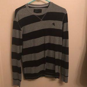 EXPRESS long-sleeve black and gray striped shirt